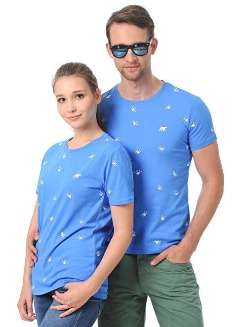 Cool Bear Baskılı Tişört Mavi